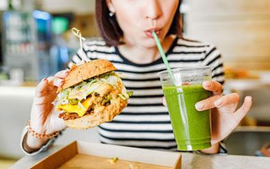 A-vegan-burger-and-juice-meal