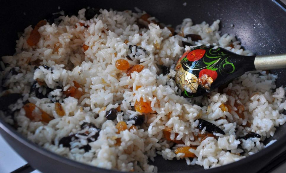 Basmati rice with dried fruit, pine nuts and almonds
