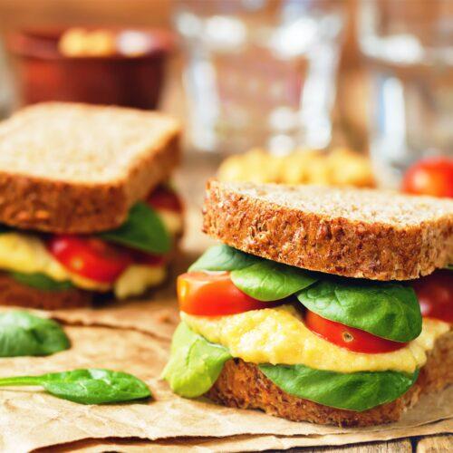Hummus sandwich with fresh veggies
